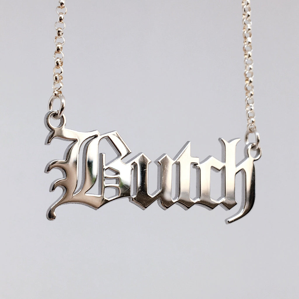 Gothic blackletter Butch necklace in solid sterling silver.