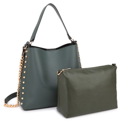 ba98bc72271 Dasein Classic Faux Leather 2-in-1 Hobo Bag with Studs design on both sides  and with Matching Accessory Bag inside