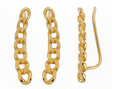 Curved Link Crawler Earrings 14K Yellow Gold (Just Arrived!)