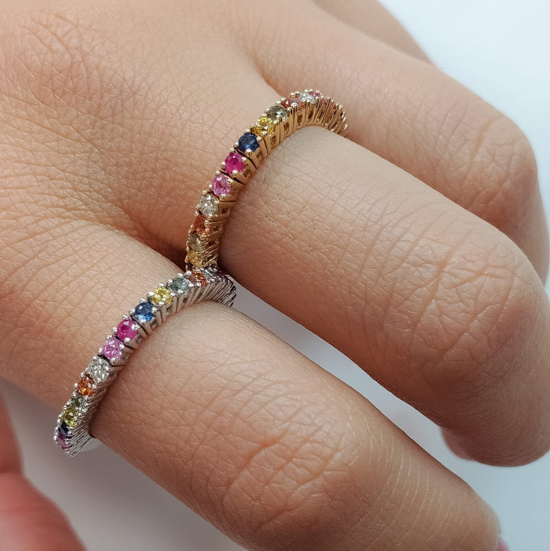 Flexible Multi Color Sapphire with Diamonds Flexible Ring 14K