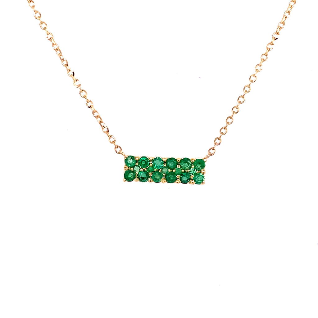 Color Gemstone Double Row Bar Necklace 14K Yellow Gold