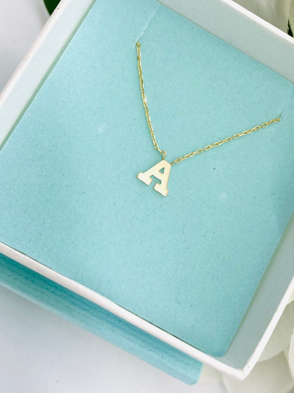 Single Block Initial (Letter) Necklace 14 Karat Gold