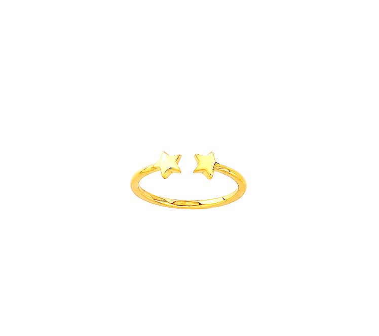 Open Double Star Ring 14K