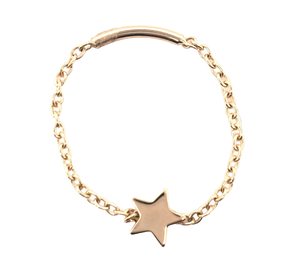 Star Chain Ring 14K Gold