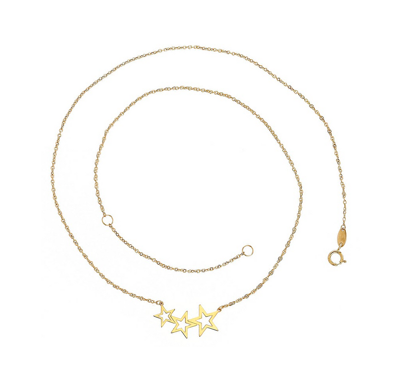 Three Open Stars Necklace 14K