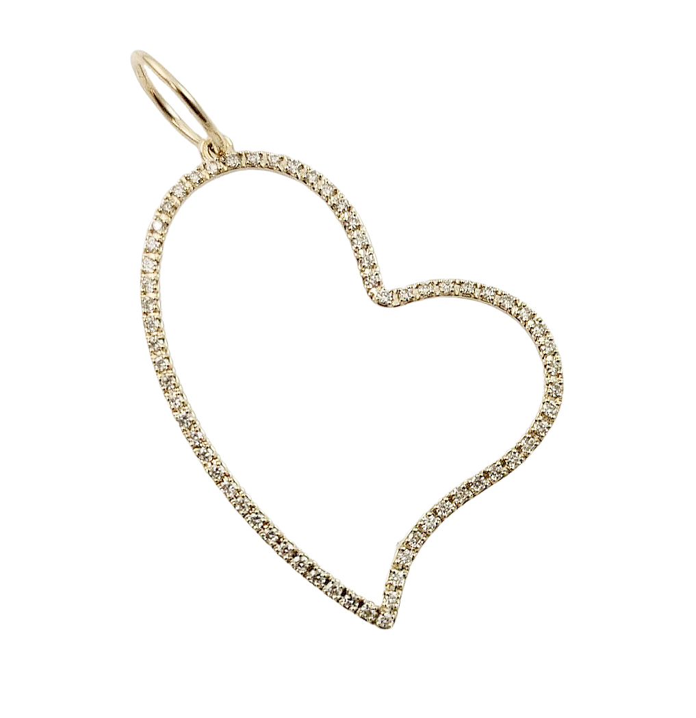 Diamond Open Heart Charm 14K Gold