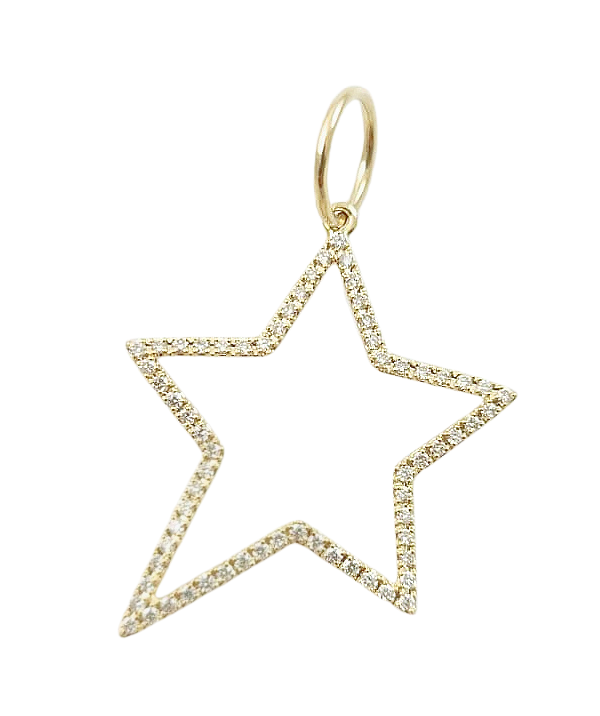 Diamond Open Star Charm 14K Gold