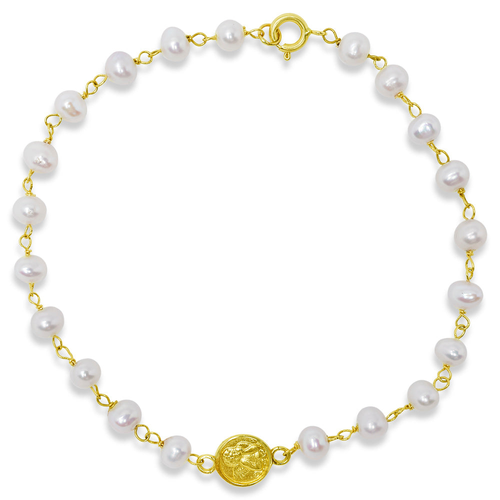 Small Angel Medal Pearl Bracelet 14K Yellow Gold