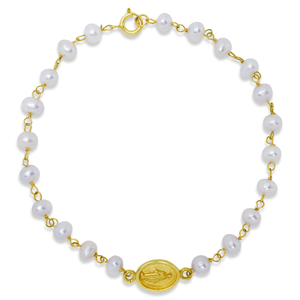 Miraculous Medal Pearl Bracelet 14K Yellow Gold