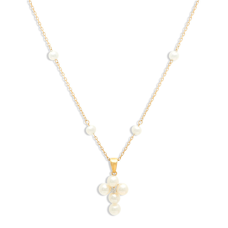 Pearl Cross Necklace with diamond in 14K Yellow Gold
