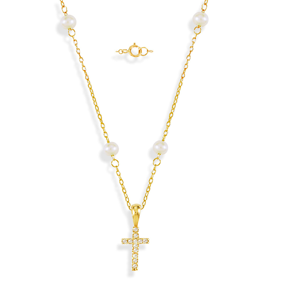 Miniature Diamond Cross on Pearl Necklace