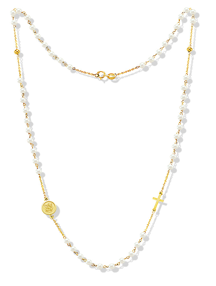 Pearl Rosary Necklace With Angel 14KY Gold