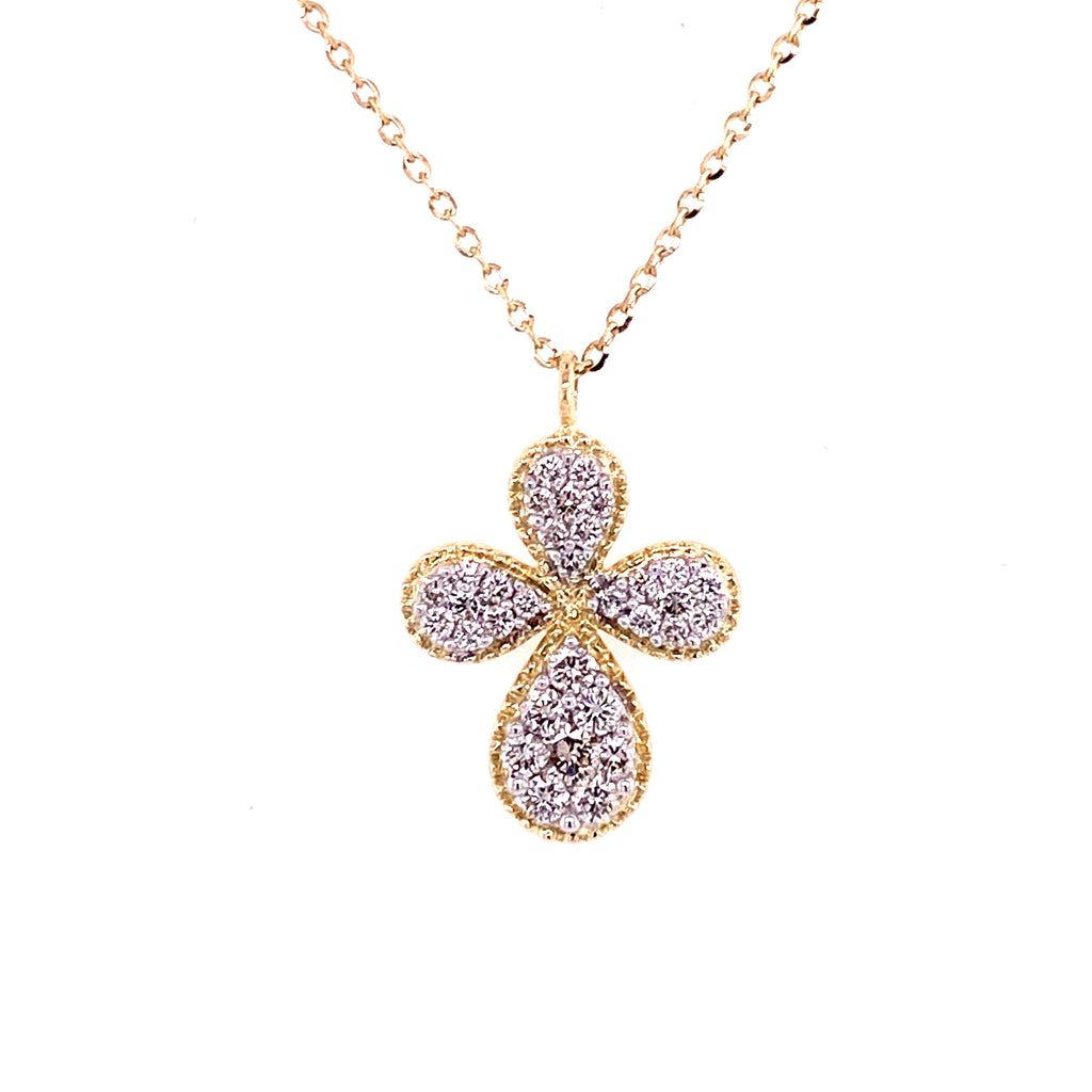 Diamond Encrusted Fancy Milgrain Cross Necklace 14K Gold