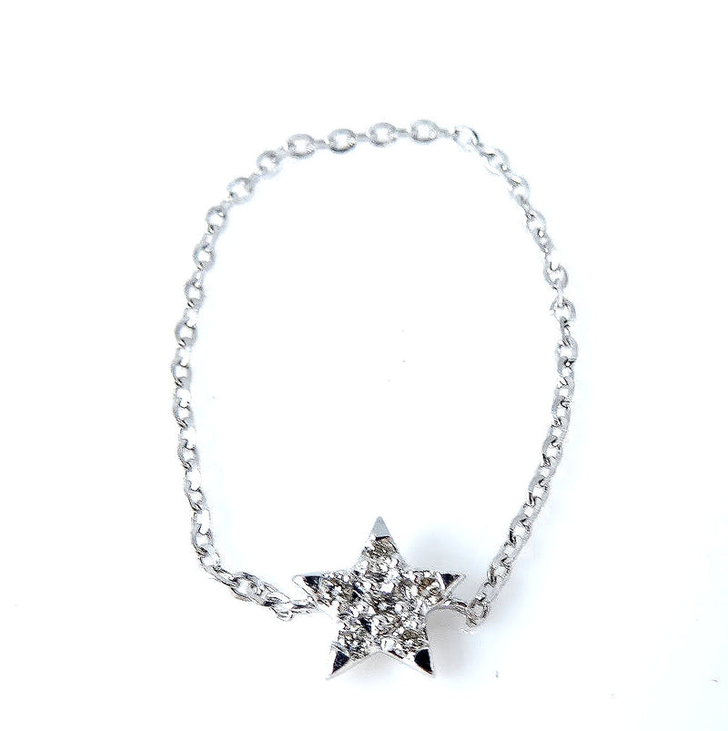 Diamond Star Chain Ring 14K