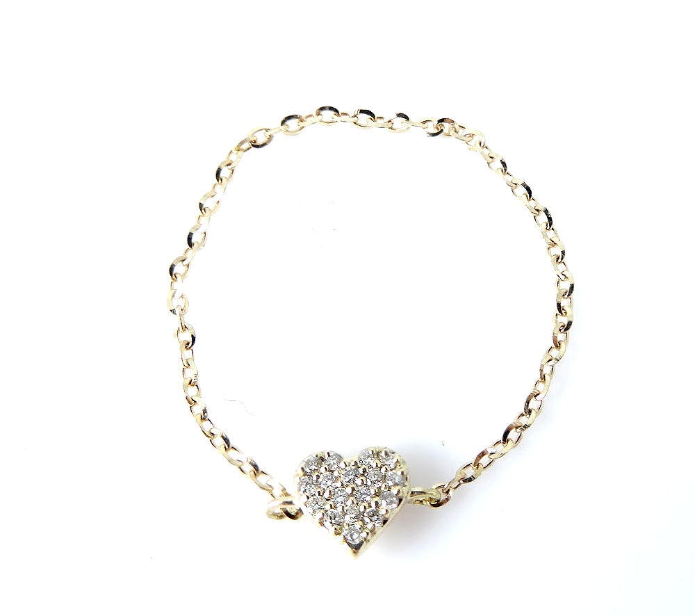 Diamond Heart Chain Ring 14K (Only 2 left in Yellow Gold)
