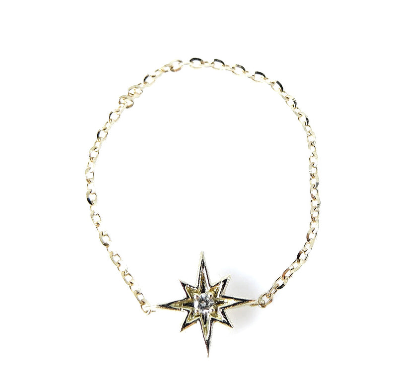 Diamond Starburst Charm Chain Ring 14K Gold (Only a Few Left in 14K Yellow Gold!)