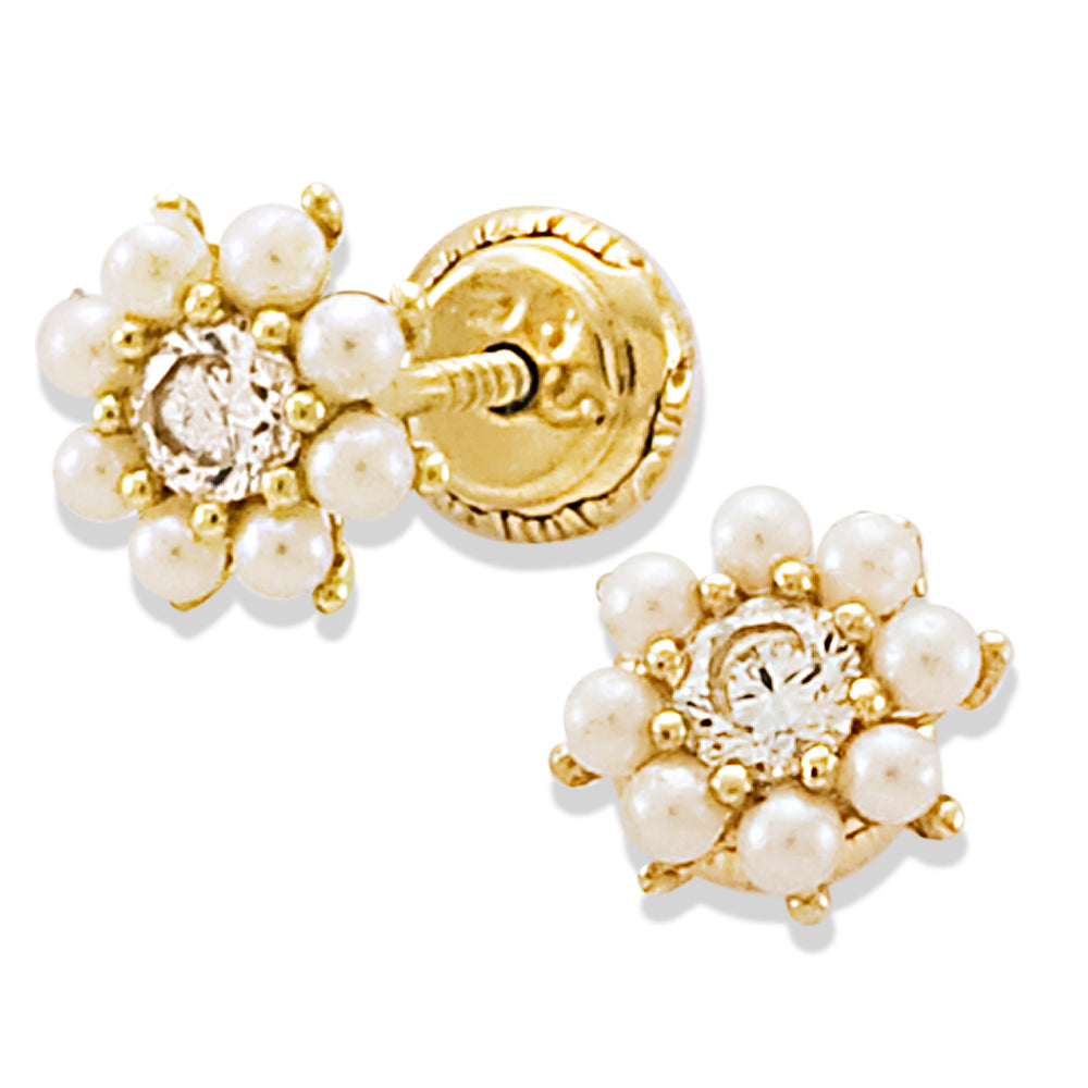 Miniature Pearl Earrings crafted in 14KY Gold