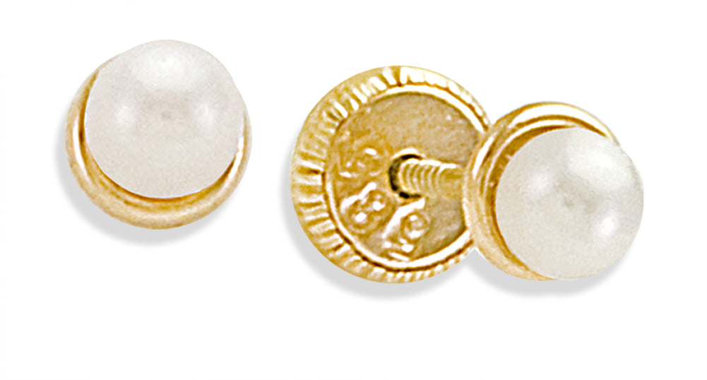 Pearl Earring 3mm in 14KY Gold
