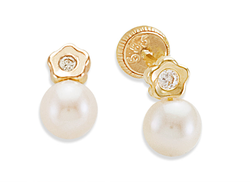 Small Flower with Pearl Detail Baby Earring 14KY Gold