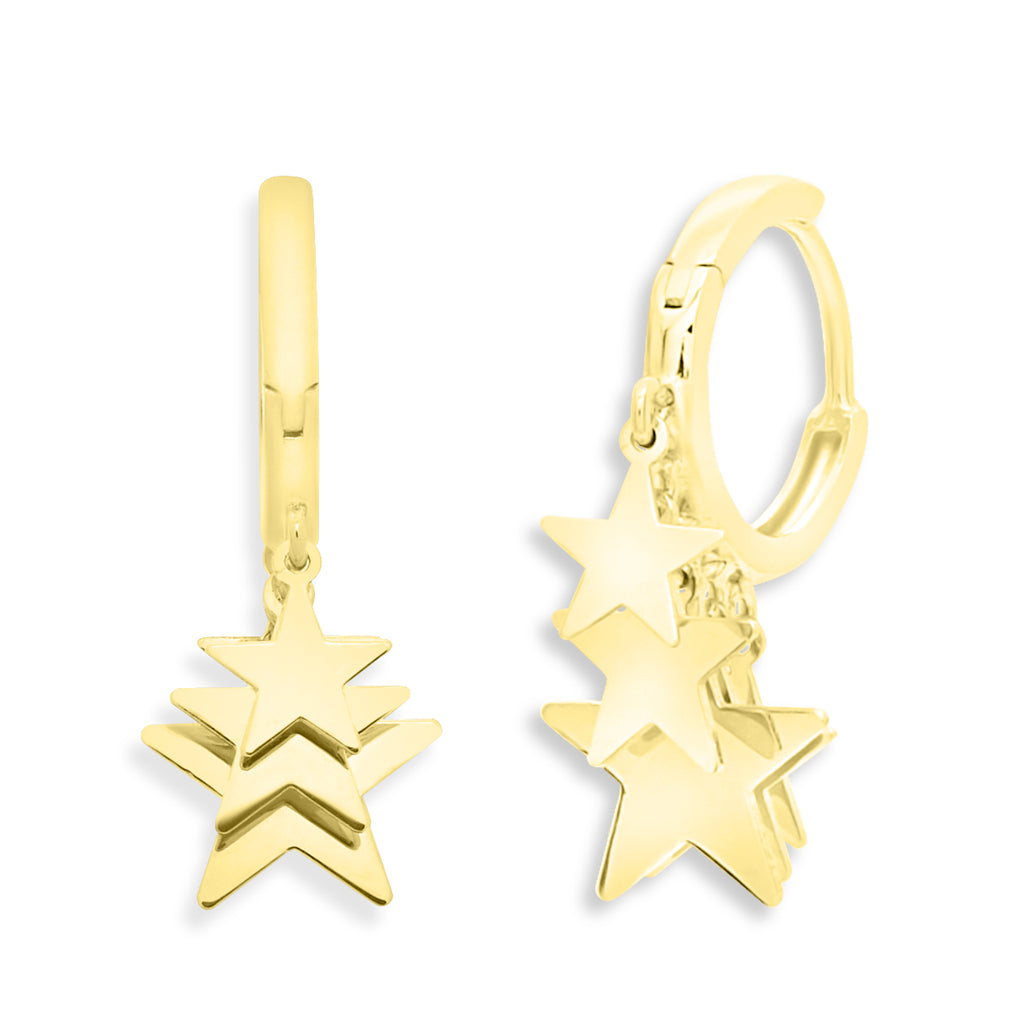 Multiple Star Dangle Huggie Earrings 14K