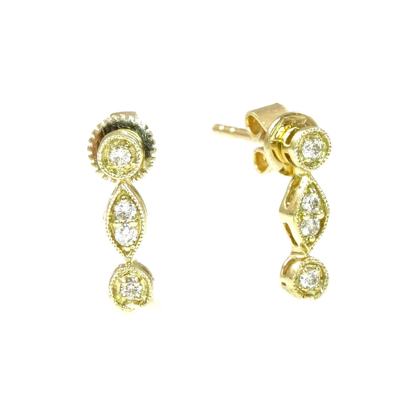 Victorian Setting Diamond Earrings 14K