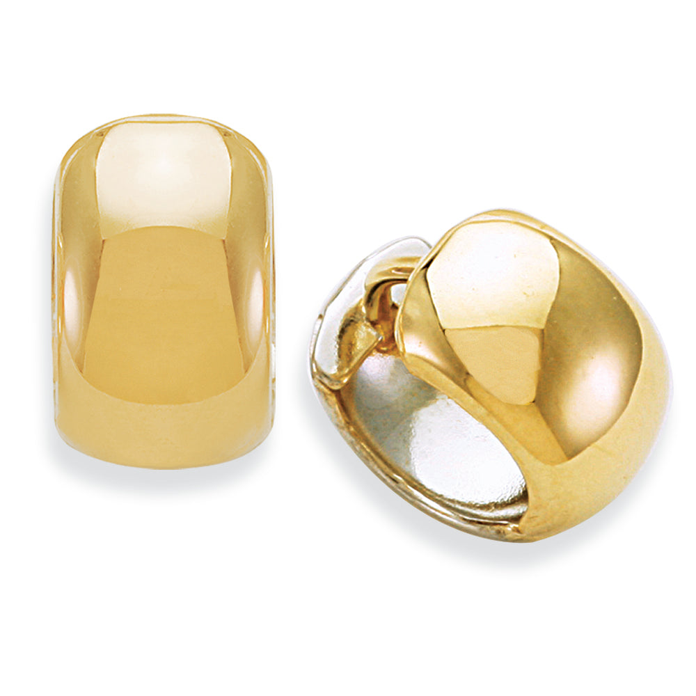 14K Two Tone Gold Huggie Earring