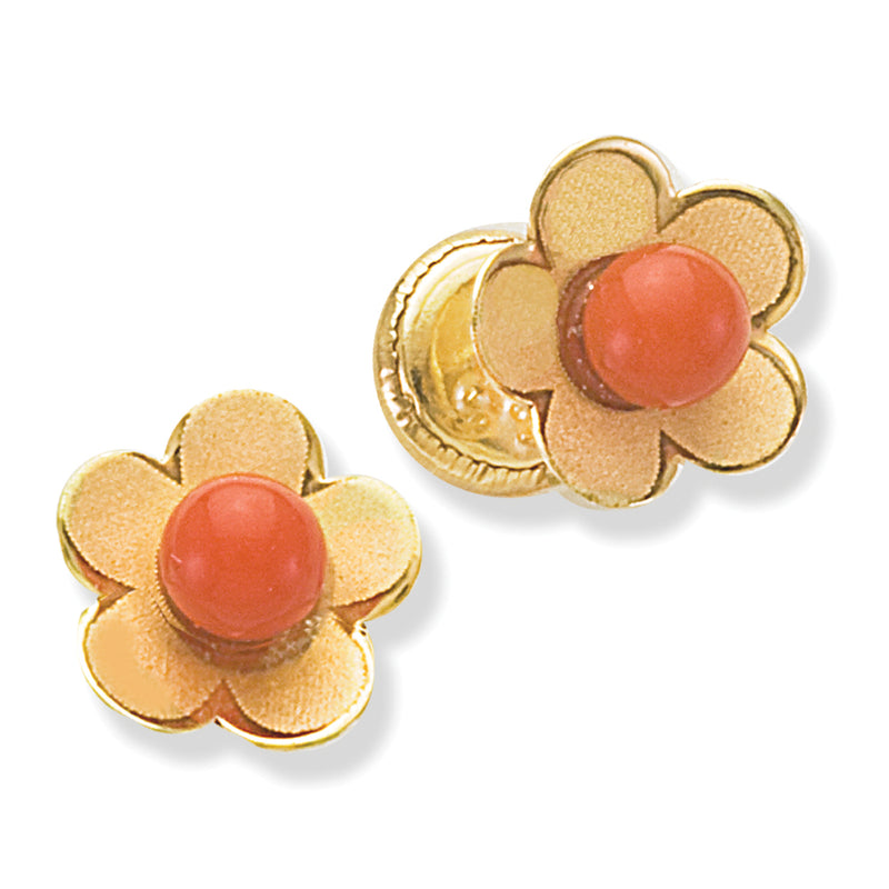 Coral Flower Baby Earring in 14KY Gold