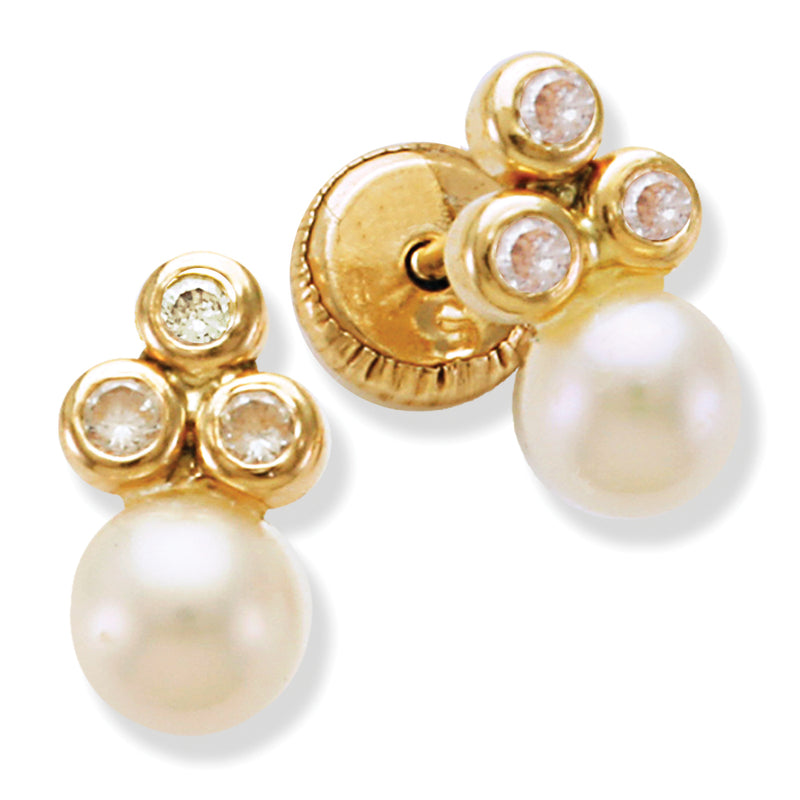 Pearl Children's Earrings 14K