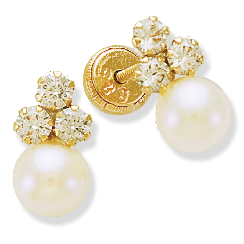 Trio Cluster Earring with Pearls in 14K Yellow Gold