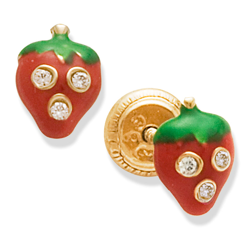 Strawberry Red Enamel Earrings 14K Gold