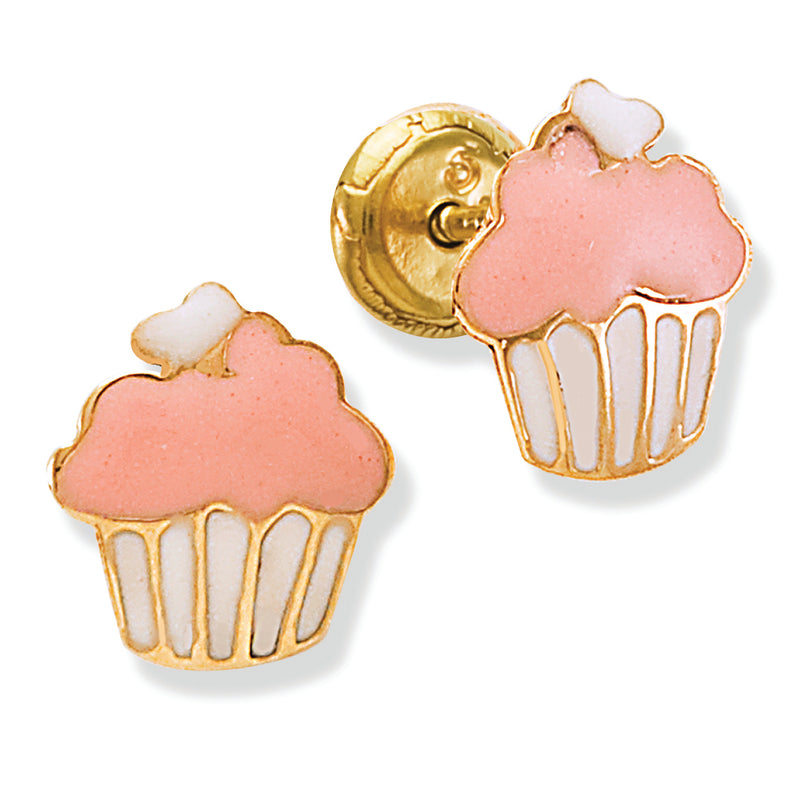 Cupcake Earring Crafted in Solid 14K Gold