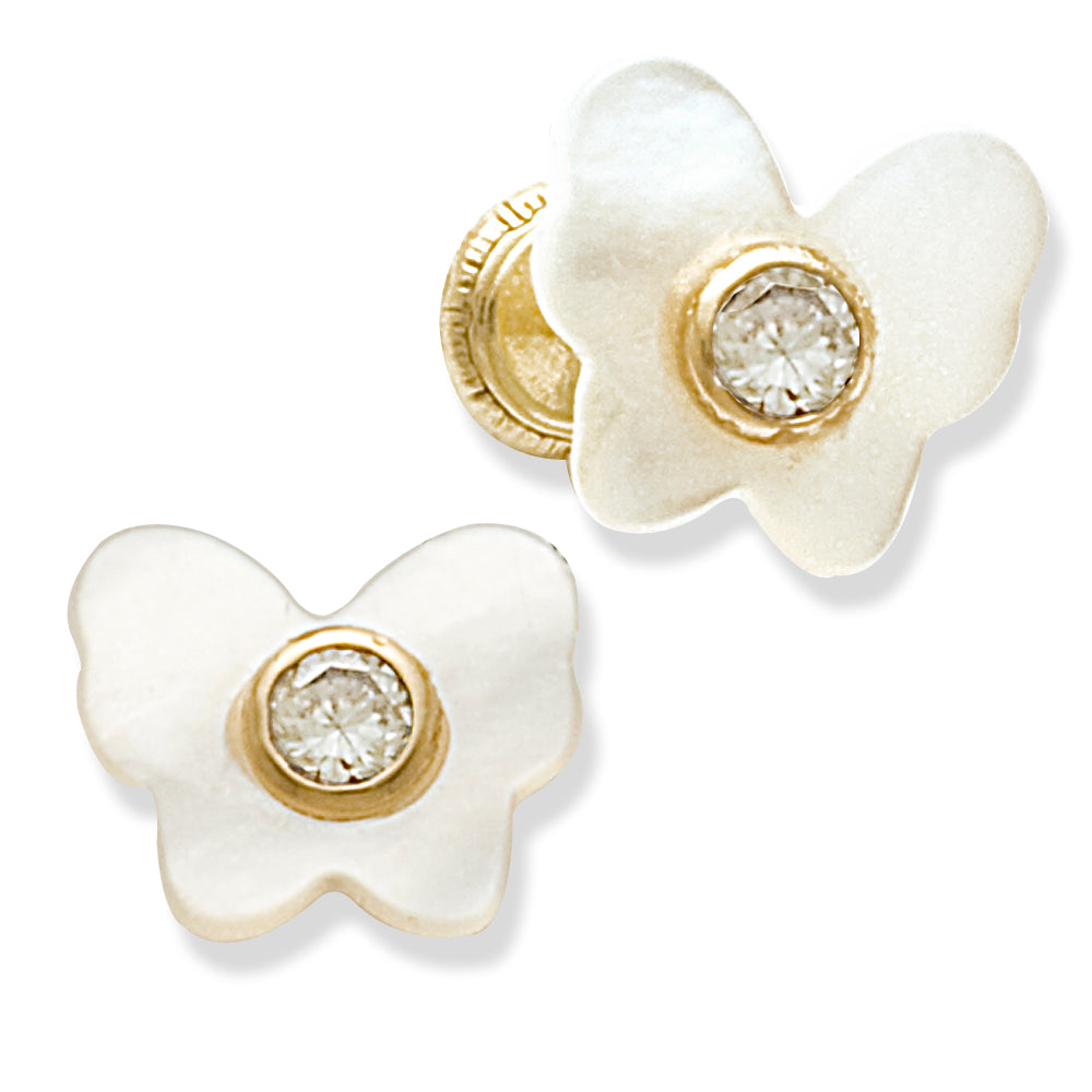 Butterfly Earrings in Mother of Pearl 14K
