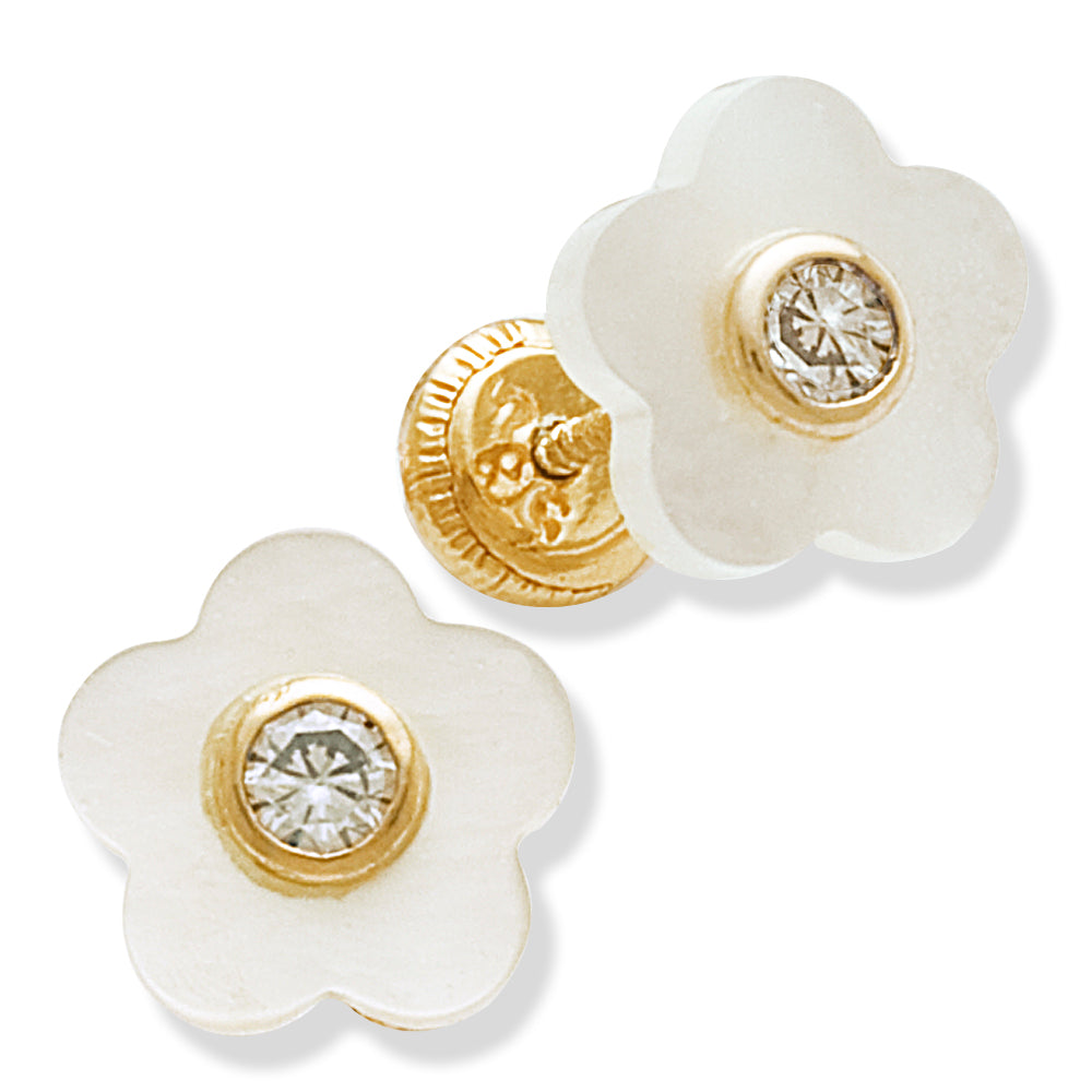 Mother of Pearl Flower Shape Earrings 14KY Gold