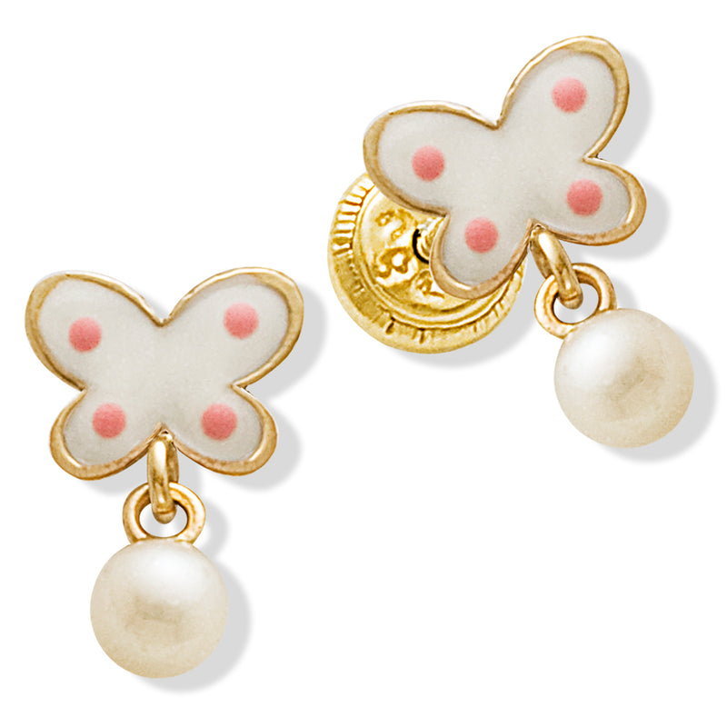 Pearl and Flower Toddler Earring in 14KY Gold