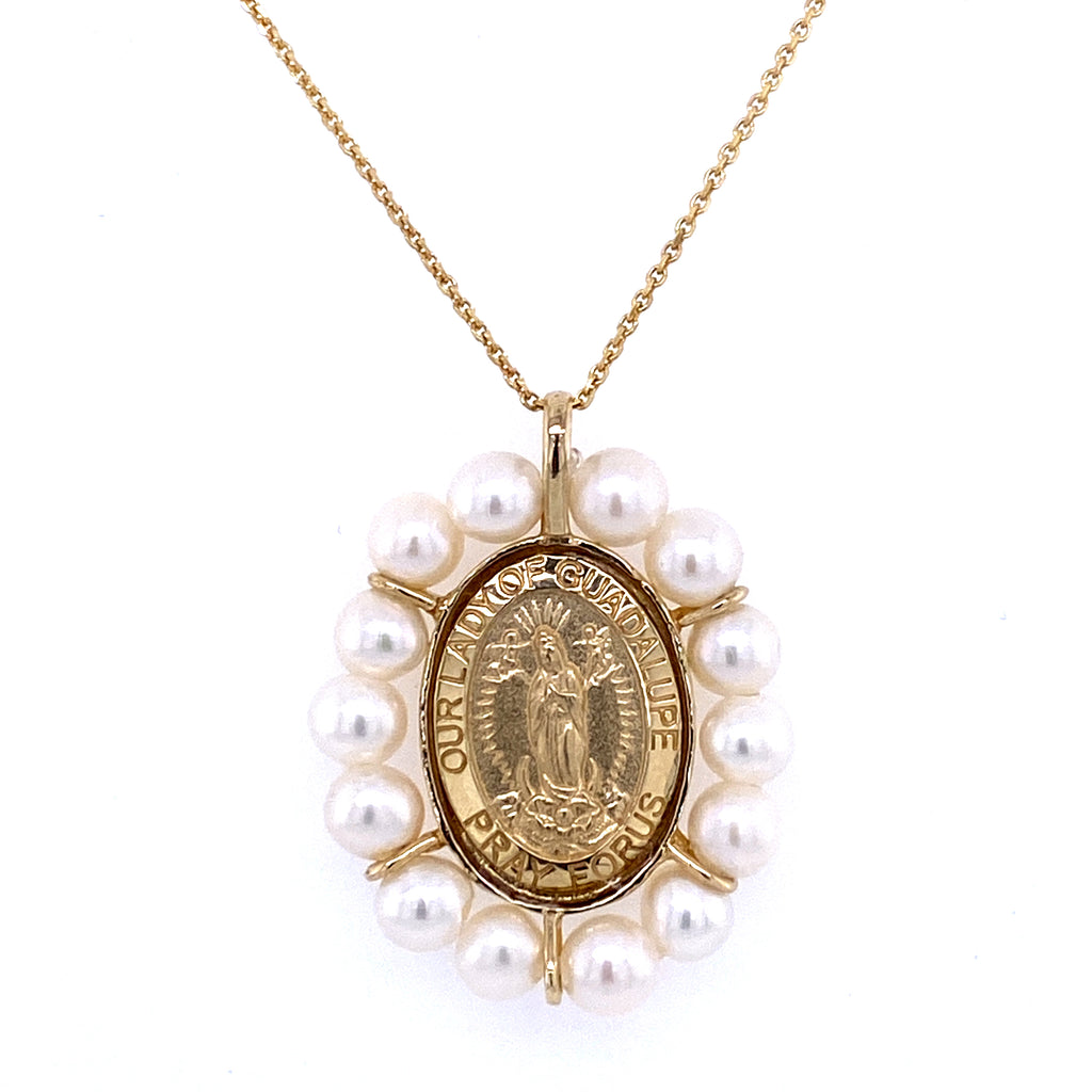 Guadalupe Medal with Pearl Halo 14K Yellow Gold