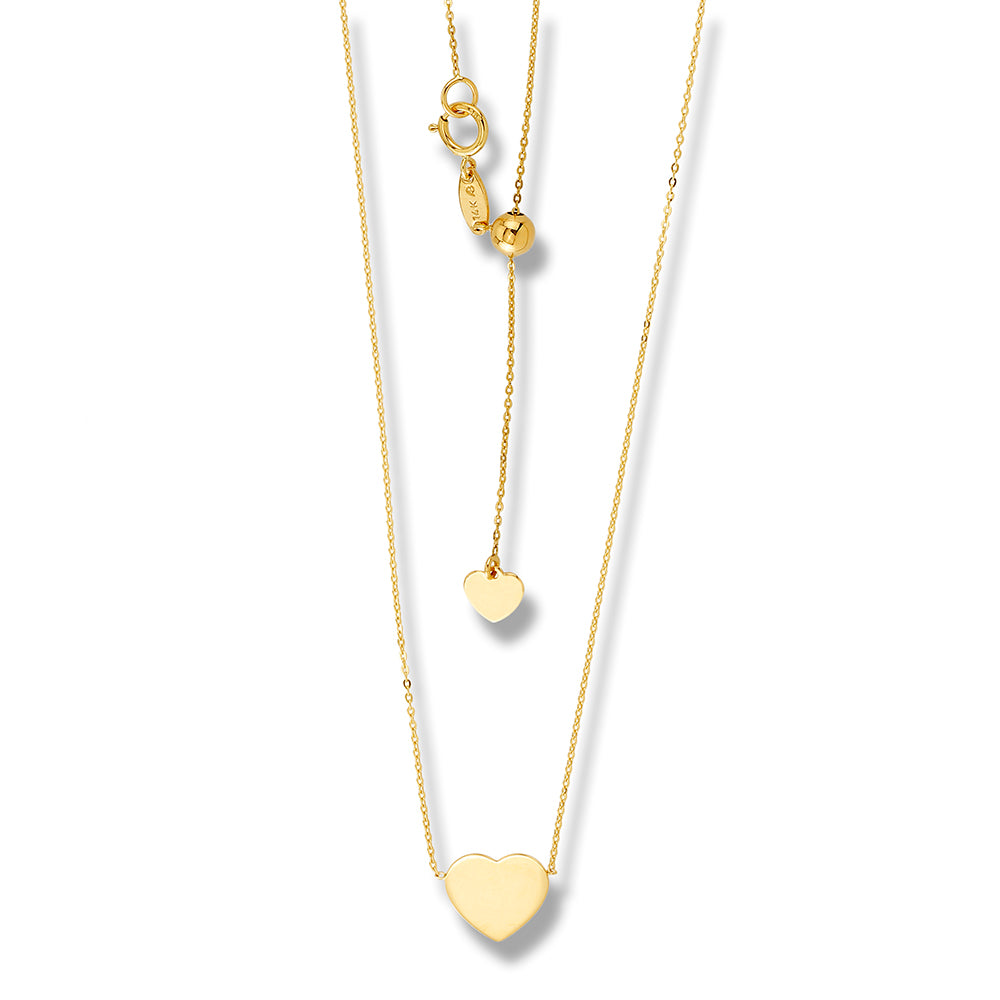 Heart Adjustable Choker Necklace 14K Yellow Gold