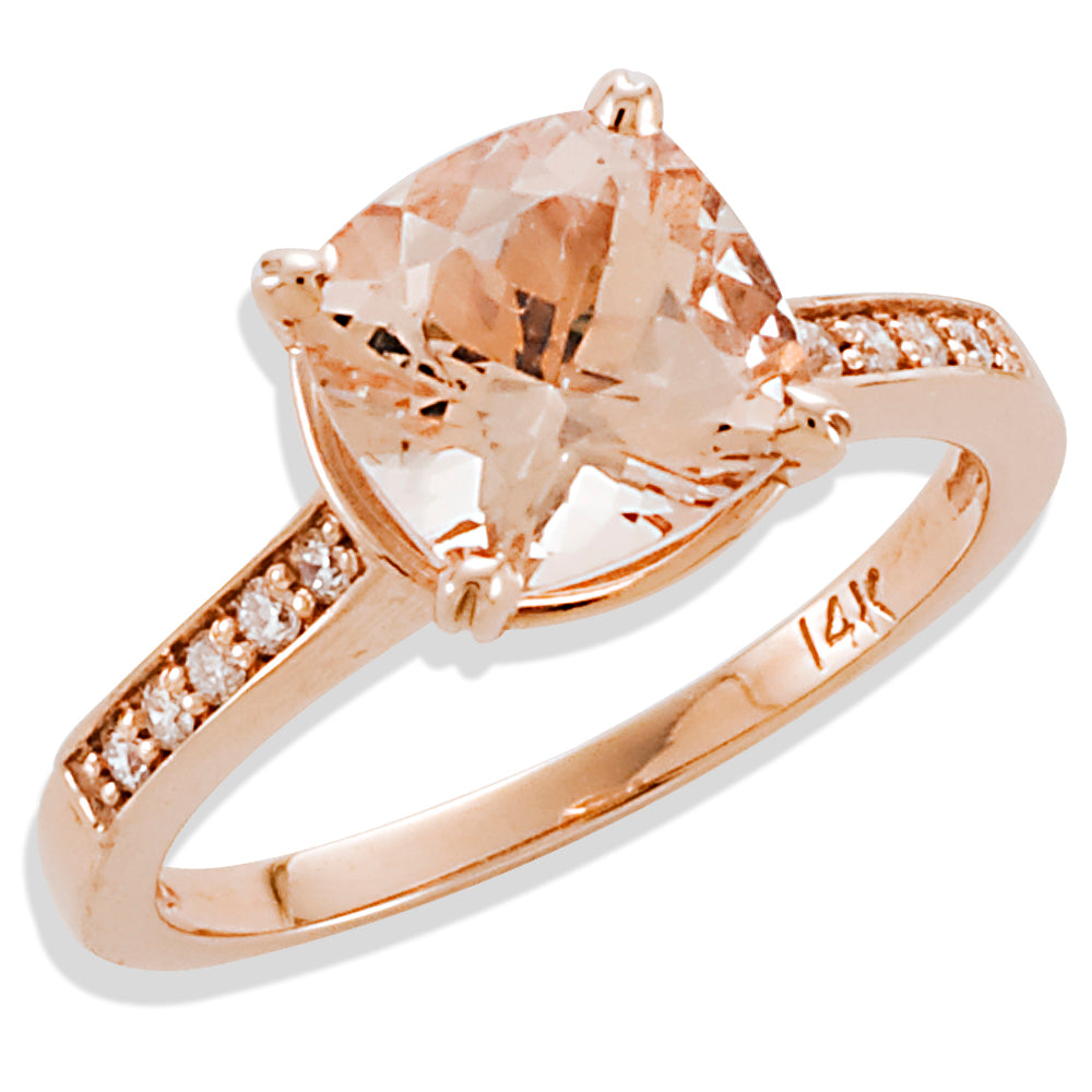 Cushion Cut Morganite And Diamond Engagement Ring in Rose Gold