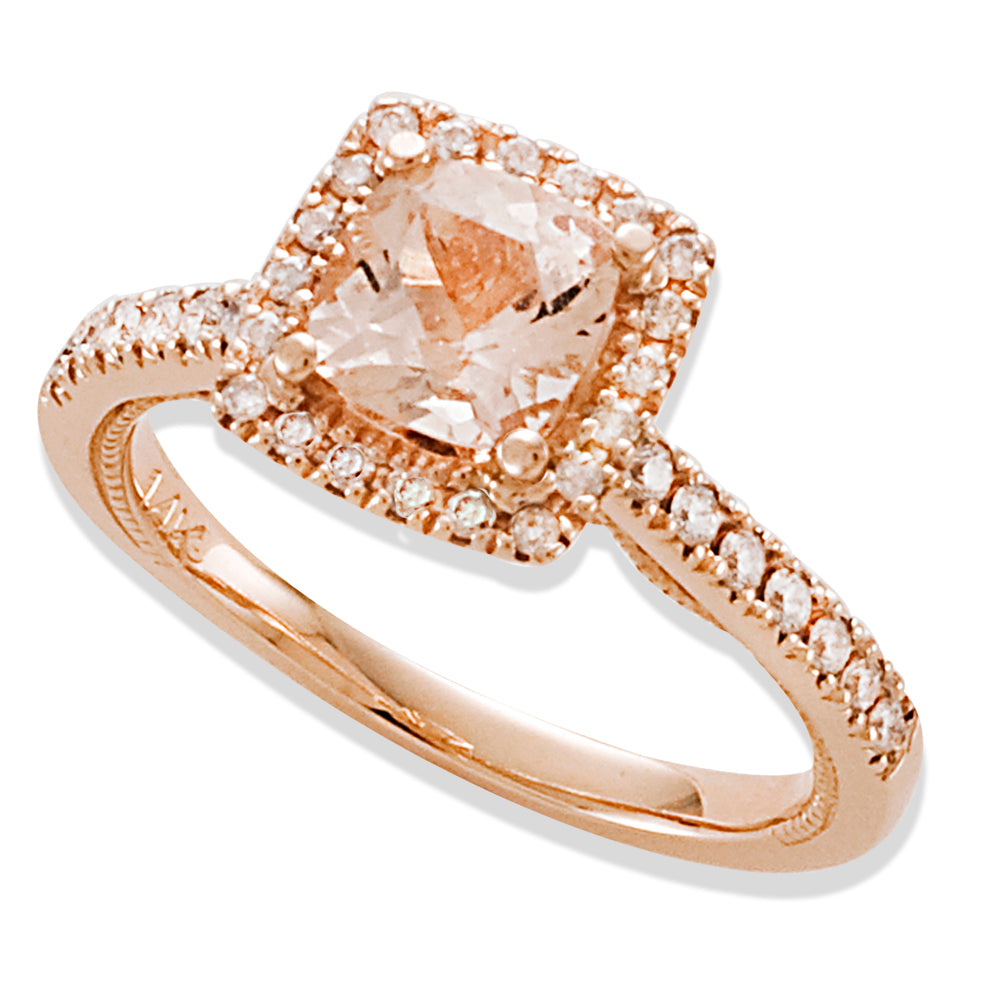Round Cut Pink Morganite Engagement Ring in Rose Gold