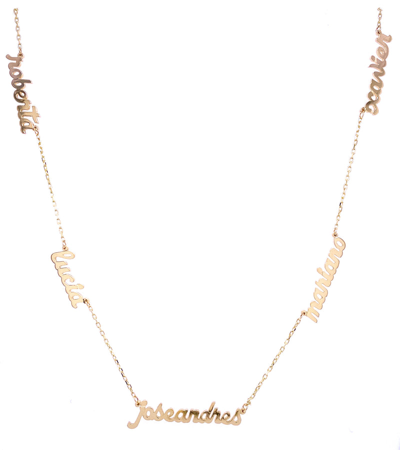 Miniature Name Cut Out Necklace 14KY Gold