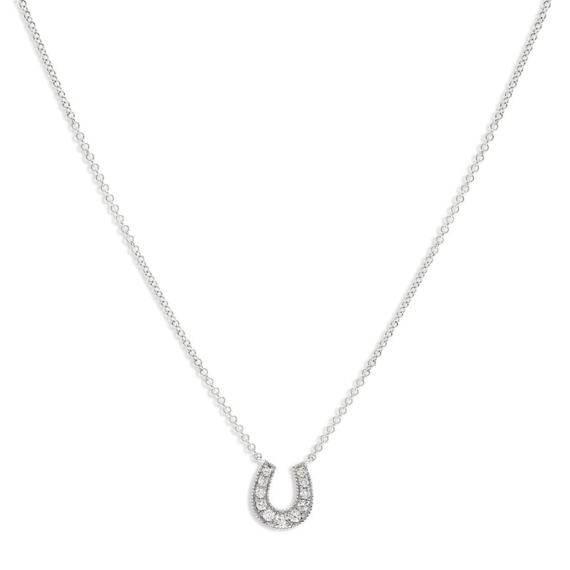 Lucky Diamond Horseshoe Necklace  14K White Gold