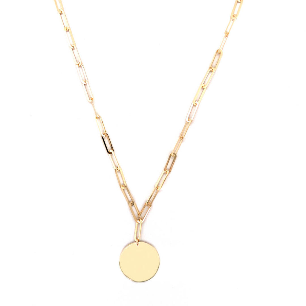 Circle Disc Paper Clip Necklace 14K Yellow Gold