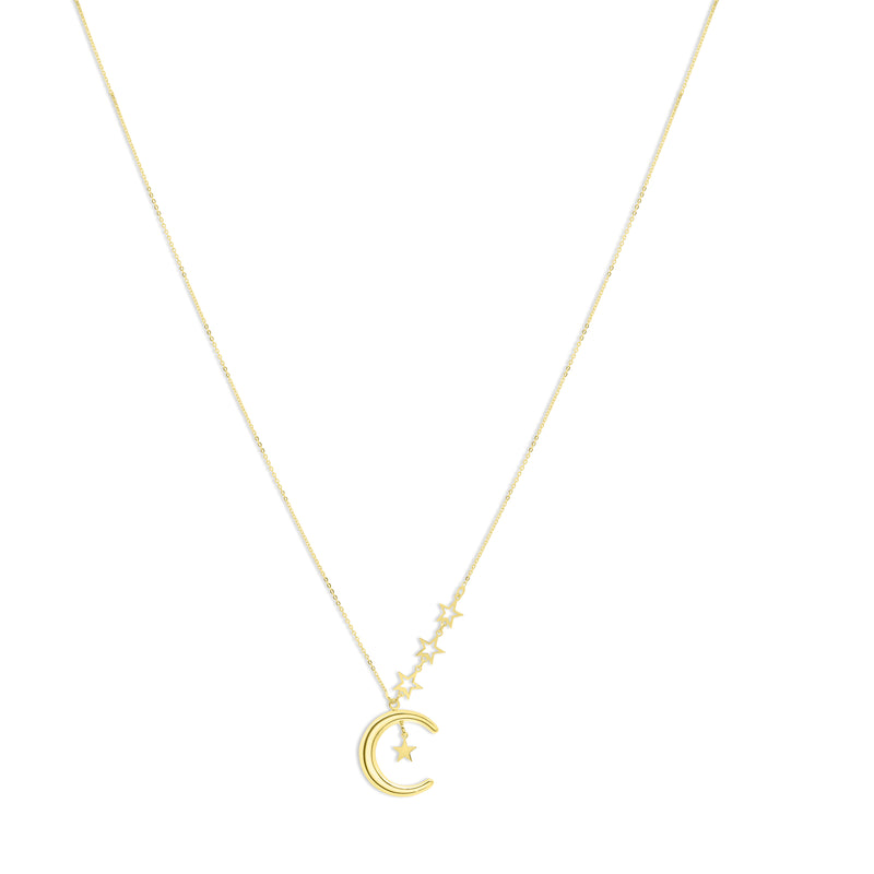Crescent Moon Pendant with Star Accents Necklace 14KY Gold (Just Arrived!)