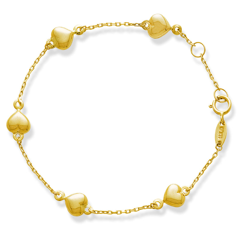 Puff Heart Kid Bracelet in 14K Gold