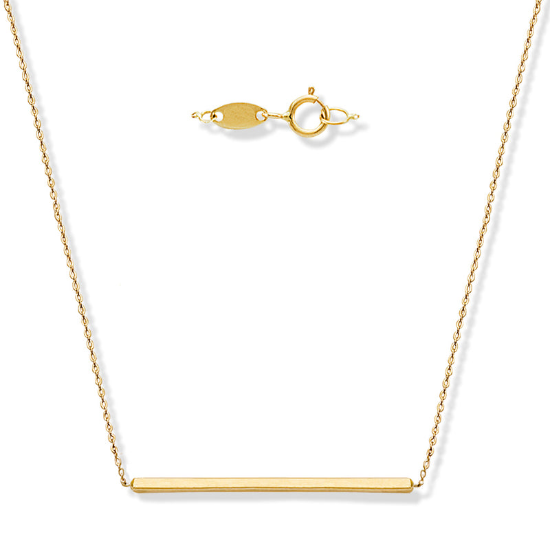Single Bar Necklace Crafted in Solid 14K Yellow Gold