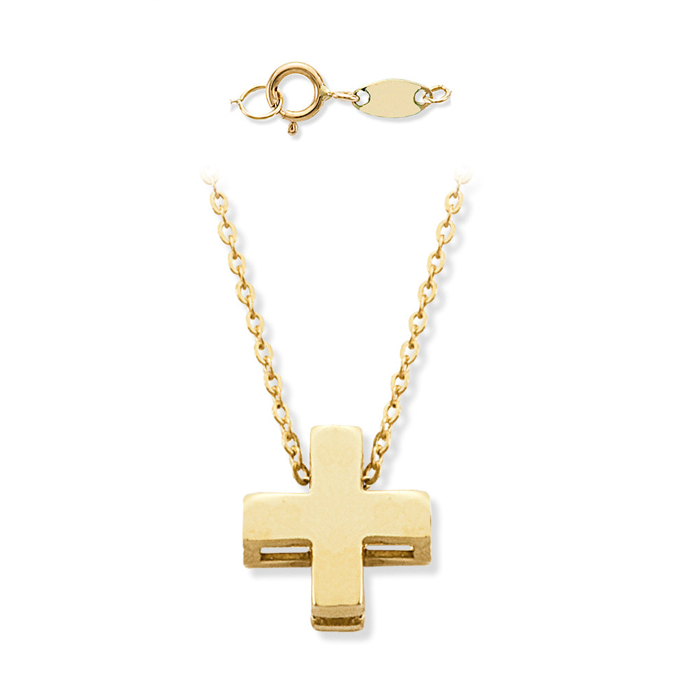 Single Cross Necklace in Solid 14K Yellow Gold