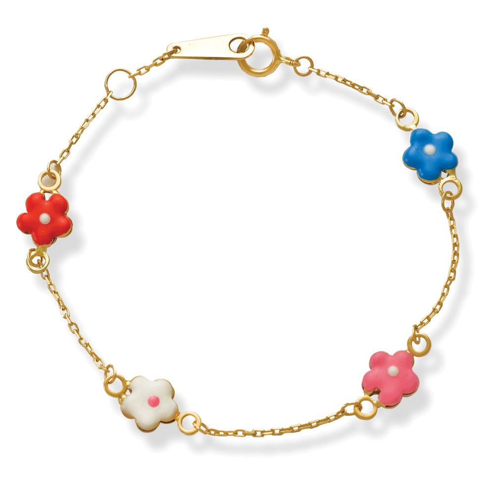 Flower Enamel Baby/Junior Bracelet 14K Gold