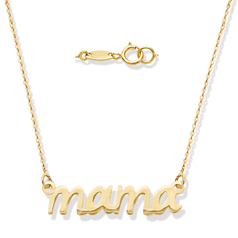 """MAMA"" Cut Out Necklace 14KY Gold"