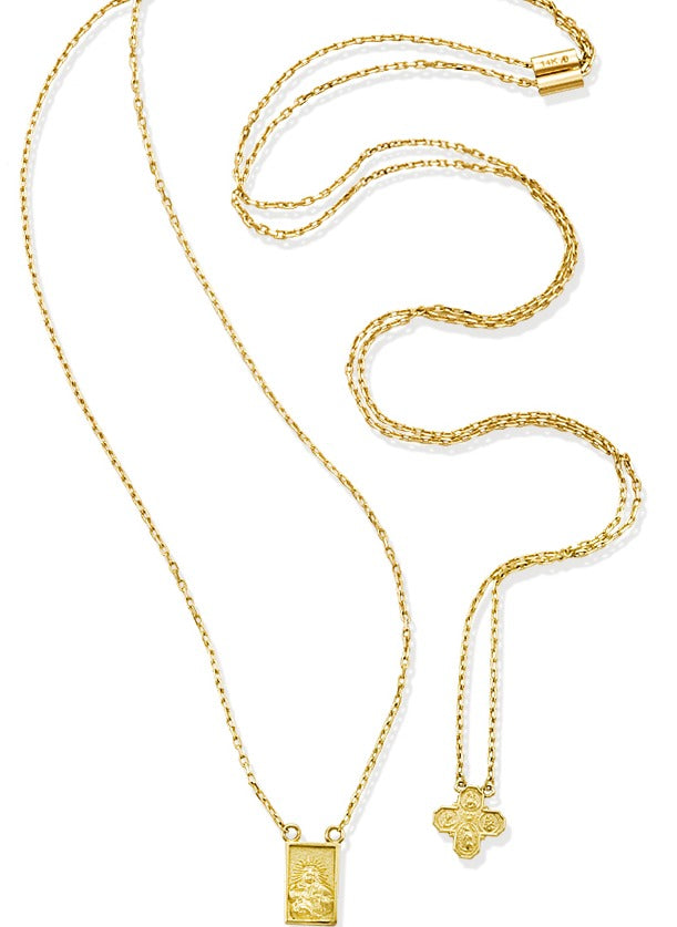 Rosary Necklace 16.5'' Inches 14KY Gold