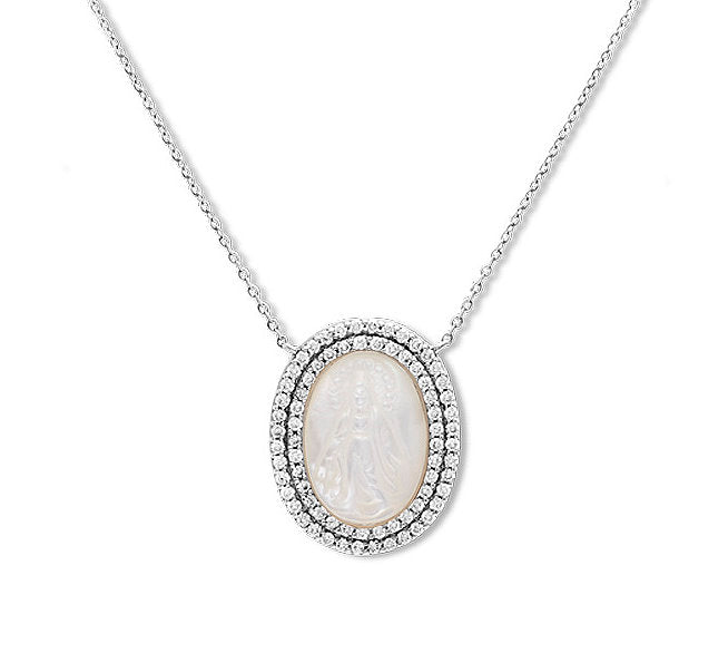 Double Row Diamond Mother of Pearl Miraculous Medal Necklace 14K Gold