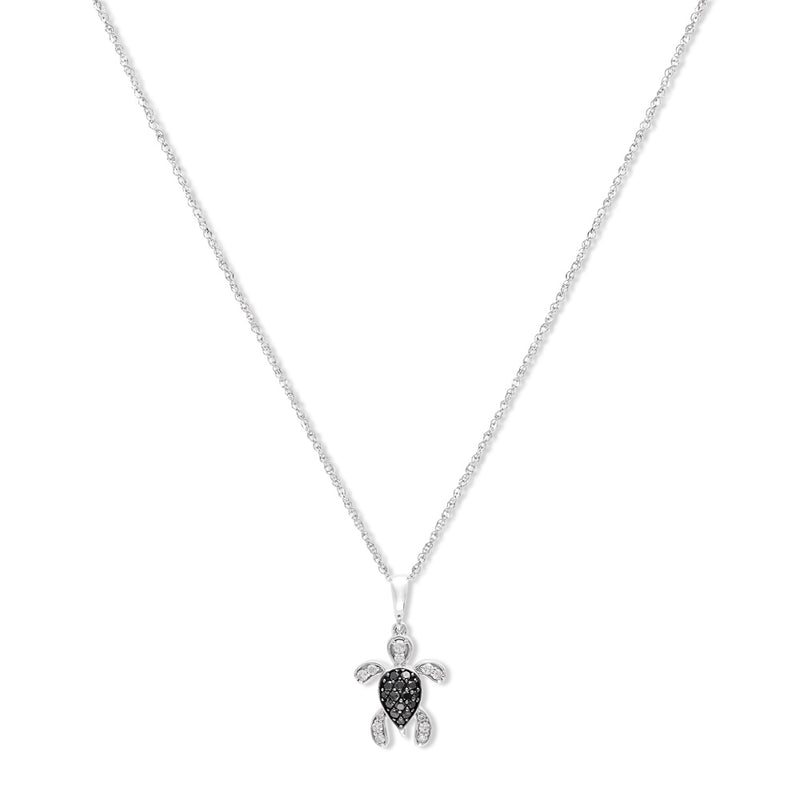 FLASH SALE! 14KW Gold Diamond Turtle Necklace